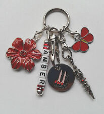 Personalised Keyring Gift - Red Butterfly - Flower - Stiletto Shoe Trolley Token