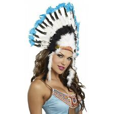 Indian Headdress Adult Feather Chief Costume Halloween Fancy Dress