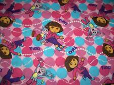 Dora the Explorer Best Friends Toss Pink Turquoise Dots Cotton Quilt Fabric BTY