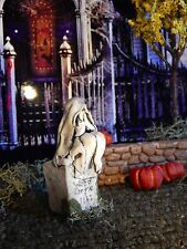 Halloween TOMBSTONE ~ Woman SITTING Weeps In Hands ~ GRAVEYARD Headstone Dept 56