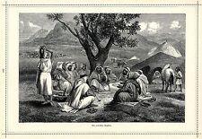 Beduinen- Zeltlager *  Ein arabischer Erzähler * Xylographie von 1884