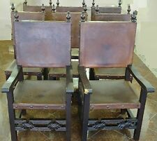 RARE 8 ANTIQUE ARTES DE MEXICO INT. SPANISH COLONIAL LEATHER SEATS DINING CHAIRS
