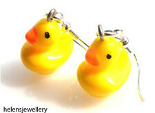 HAND MADE YELLOW RUBBER DUCK EARRINGS WITH FREE GIFT BAG + FAST FREE P&P