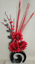 ARTIFICIAL SILK RED DRAGON FLOWERS WITH RED GRASSES IN BLACK FOSSIL CERAMIC VASE