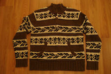 New Hollister Co Aztec Wool Bulky Sweater M Kangaroo Pocket 4-Button Pullover
