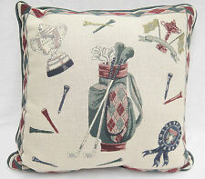 "Golf Theme Decorative Throw Pillow Green and Red 16"" Square Clubs Bag Trophy Tee"