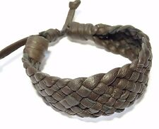 BRACELET CUIR MARRON Tressé HOMME/FEMME ARTISANAT BIJOUX REGLABLE leather BROWN