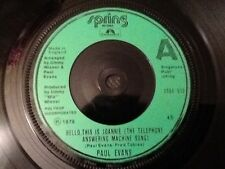 PAUL EVANS Hello, This Is Joannie The Telephone Answering Machine Song 1978 7""