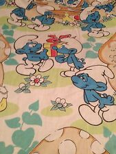 VINTAGE SMURFS PEYO FITTED TWIN BED SHEET FABRIC CRAFTS