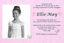 50 Personalised Girls Pink First , 1st Holy Communion Invitations / Invite C12P