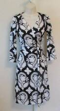 Diane von Furstenberg New Julian two Indian Brocade Black 4 wrap dress white DVF