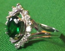 BIG GREEN RING! 18KGE  Size 10 1/2 Costume Jewelry Case May/August Birthstone