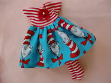 "Blythe/Skipper doll clothes ""Cat in the Hat"" print dress w/red & white stockings"