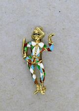 Vintage 18K Gold & Enamel Harlequin Lapel Pin or Brooch - Masquerade Clown - VR