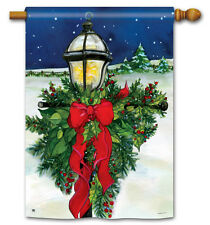 """HOME FOR THE HOLIDAYS CHRISTMAS LAMP POST LARGE DECORATIVE BANNER FLAG 28""""x40"""""""