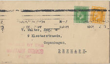 WW1 period KGV New Zealand stamps on cover to Denmark, PASSED MILITARY CENSOR