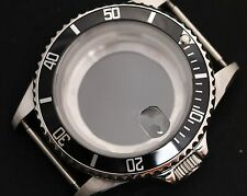 NEW Stainless steel watch case polished generic submariner black bezel eta glass