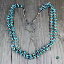 Beautiful Vintage Santo Domingo Blue Turquoise Nugget Bead Two Strand Necklace