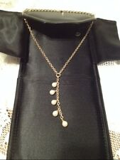 """Beautiful PEARL LARIAT NECKLACE IN 14KT GOLD 18"""""""