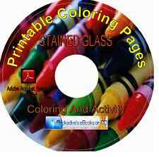 STAINED GLASS 96 Pages Printable Coloring CD-ROM