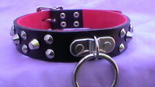 """15-18 """"lockable studded collar with o ring black real leather"""