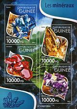 Guinea 2015 MNH Minerals 4v M/S Amethyst Calcite Fluorite Vanadinite