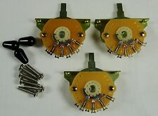 3 New Mighty Mite USA 5 Way switches for Fender Stratocaster Strat  w/ Black Tip