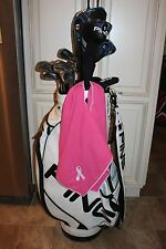 Pink White Terry Cloth Golf Towel (Embroidered Ribbon) Breast Cancer Awareness