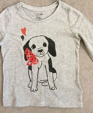 GAP- GREY LONG SLEEVE T SHIRT WITH DOG ON FRONT WITH RED TARTAN BOW - AGE 3y