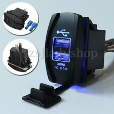 Blue Car Dual USB Charger LED Backlit Rocker Switch 12V-24V Waterproof UTV Boat