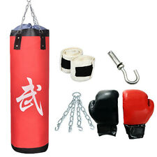 "39"" Heavy EMPTY Hanging Punching Bag Kit Boxing MMA Training Gloves and Wraps"