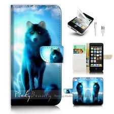 iPhone 5 5S Flip Wallet Case Cover! P1931 Wolf