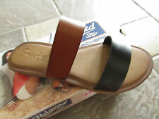 NEW SKECHERS INDULDGE HORIZONS  SLIDE SANDALS WOMENS 6 #38967 BLACK/BROWN FREE S