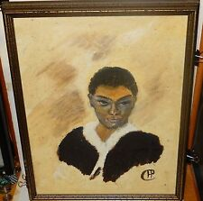 "H.P.CULLER ""NATIVE SON"" AFRICAN AMERICAN VINTAGE OIL ON BOARD PAINTING"