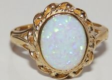 A FINE 9CT YELLOW GOLD CABOCHON OPAL SINGLE STONE  RING SIZE K