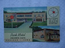 PARK HOTEL CRONK'S CAFE DENISON IOWA USED LINEN POSTCARD