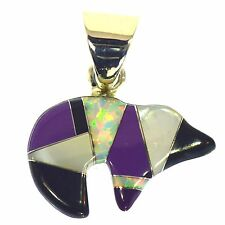 SUGILITE ONYX & VIVID OPAL INLAY BEAR PENDANT STERLING SILVER MOTHER OF PEARL
