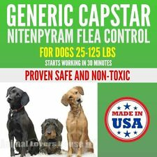 100 Capsules Generic Capstar Flea Control 57mg Dogs 25-125 lbs