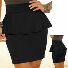 Women Peplum Pencil Mini Skirt Black Zip Back Size UK 10