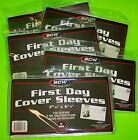 500 FIRST DAY COVER POLY SLEEVES, FOR #6-3/4 COVERS, CRYSTAL CLEAR, BCW BRAND