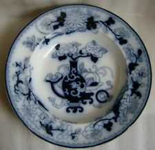 ANTIQUE WEDGWOOD FLOW BLUE SOUP BOWL PLATE CHINOISERIE NOMA PATTERN 1850's AS IS