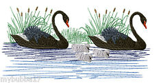 SWANS AND CYGNETS SET OF 2 BATH HAND TOWELS EMBROIDERED BY LAURA