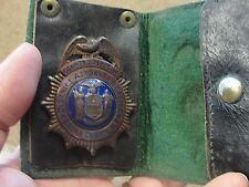 RARE Antique Obsolete Bronx NY District Attorney Detective Badge Original Wallet
