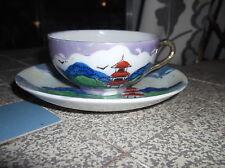 Vintage oriental chine tasse & soucoupe gras peinte à la main pagode bleu lavande lustre