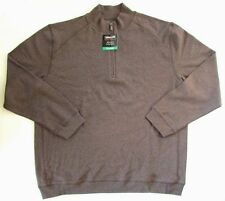 NEW Kirkland Signature Men's Cotton 1/4 Zip Pullover Brown Heather M 864742
