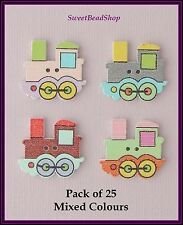 25 Train Shaped Mixed Colour Wooden 22 x 24mm Craft Buttons