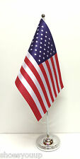 USA United States of America Satin Flag with Chrome Base Table Desk Flag Set