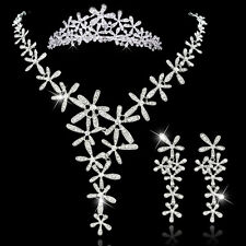 Enchanting Silver Plt Crystal Snowflake Star Flower Y Necklace Set w Tiara