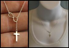 New 925 STERLING SILVER Small Infinity Cross Lariat pendant Necklace