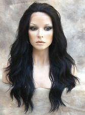 HEAT SAFE Lace Front WAVY LONG WIG Off Black Futura WBYV 1B